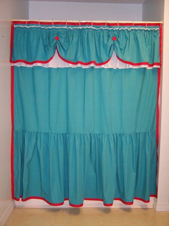 Shower Curtain Swaged Swag Custom Made Ruffles Ruffled Aqua Teal Turquoise White And Red