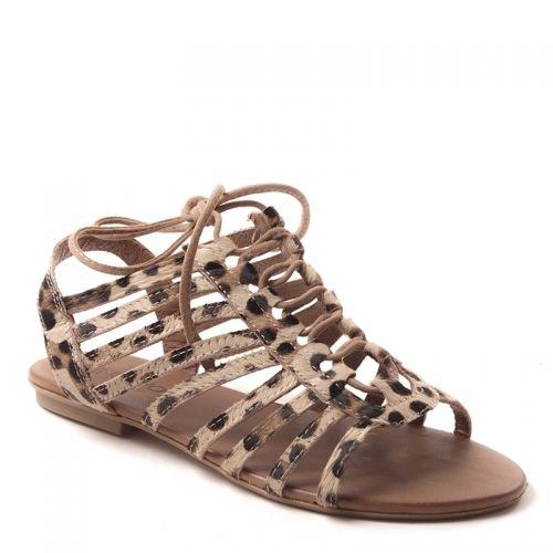 Sandales INUOVO6215 Léopard, en cuir, semelle fine.Différentes sangles de cuircroisées avec lacet recouvertes de fourrure façon léopard.Bride à l'arrière de la chaussure.