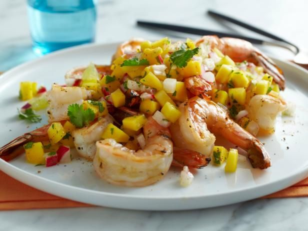 Get Grilled Shrimp with Mango, Lime and Radish Salsa Recipe from Food Network