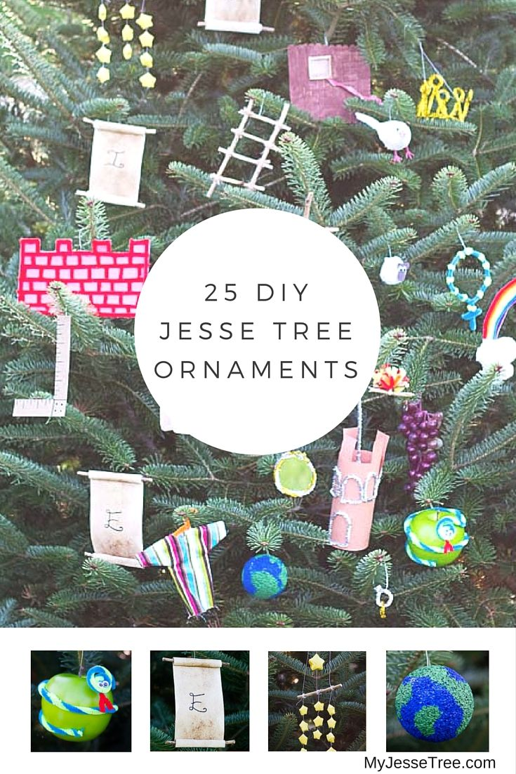 25 DIY Jesse Tree Ornaments - they are mostly simple and don't need tutorials - the page explains what they are and why (they take you through the Bible from Creation to Cross)