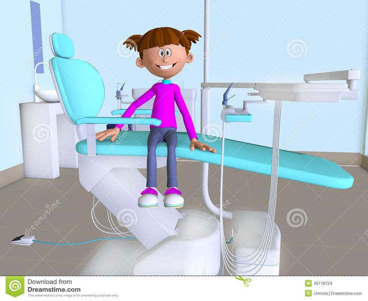 La oficina 3d de la historieta de un dentista que visita for Silla odontologica