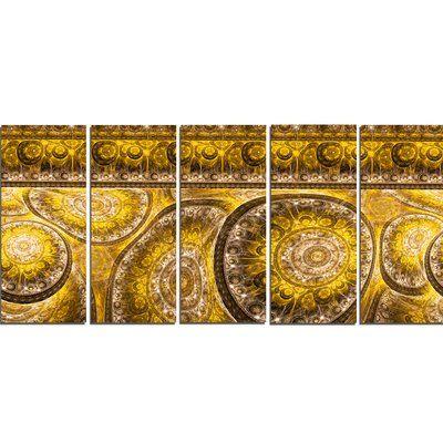 DesignArt Golden Extraterrestrial Life Cells' Graphic Art Print Multi-Piece Image on Canvas