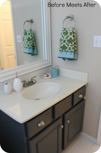 1 hour bathroom vanity makeover using annie sloan chalk - Using kitchen cabinets for bathroom vanity ...