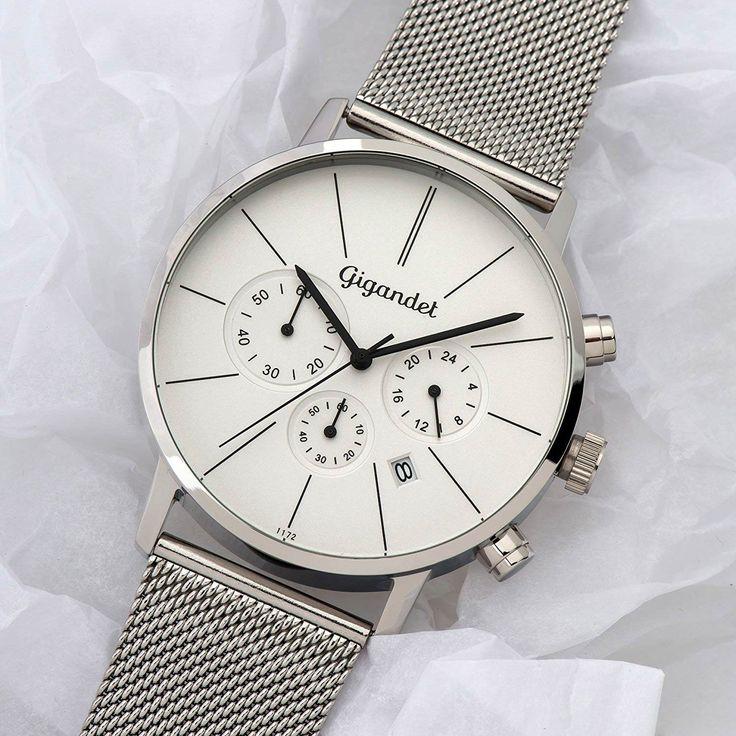 #Gigandet G32-005 #Minimalism Herren #Chronograph in #Silber mit Mesh-Armband aus Edelstahl