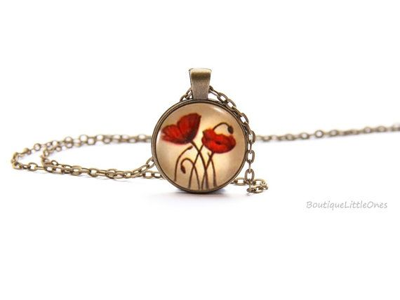 Red Poppy Antique Bronze Pendant Necklace by BoutiqueLittleOnes