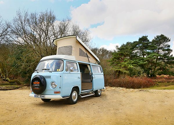 A 1972 RHD Westfalia Berlin camper van. Breeze has undergone a top to tail restoration, with a complete re-spray, mechanically overhaul, new leather upholstery and a new interior with compact kitchen unit. Painted in a stunning baby blue, Breeze is sure to grab your attention. Boasting the larger Westfalia pop-top roof and a full width rock 'n' roll bed, Breeze can sleep 4 adults comfortably. Classic VW Camper van hire from New Forest Safari Campers - The best way to explore the New F...