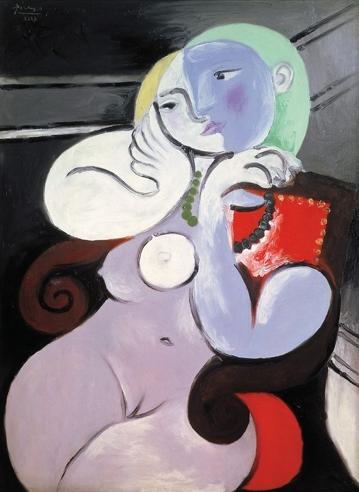 Picasso, 'Nude Woman in a Red Armchair'. Picasso's mistress Marie-Thérèse Walter was just 17 when she met the 46-year-old artist. She became one of three mothers to his 4 children... The curvaceous figure contrasts starkly with the jagged forms of Picasso's earlier Cubist period. Her voluptuous build is echoed by the scrolling arms of the chair. The face is metamorphic; one lover, possibly Picasso, can be seen kissing another on the lips.