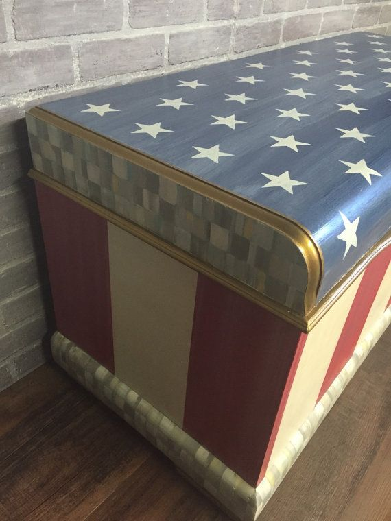 Hand Painted American Flag Cedar Chest Price Reduced