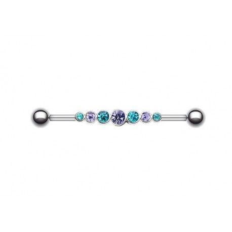 Piercing Industriel Acier Strass turquoise et violet https://piercing-pure.fr/p/377-piercing-industriel-acier-strass-turquoise-et-violet.html #piercingoreille #bijoux #turquoise