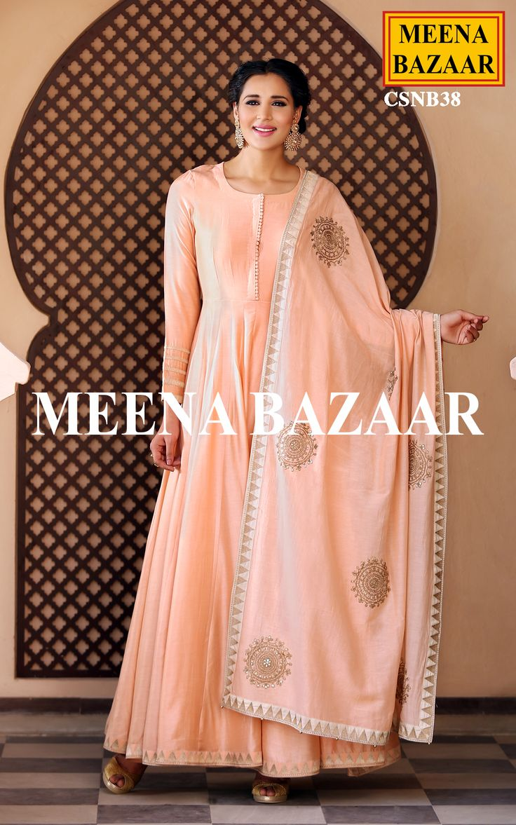 Enhance your style with this Peach modal anarkali suit. This silk kameez has embroidery on cuffs and hemline. Comes with the matching hand embroidery dori work dupatta and bottom.
