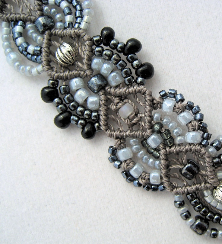 Statement Necklace in Beaded Macrame with White Magnesite Stone Pendant Black Gray. $139.99, via Etsy.