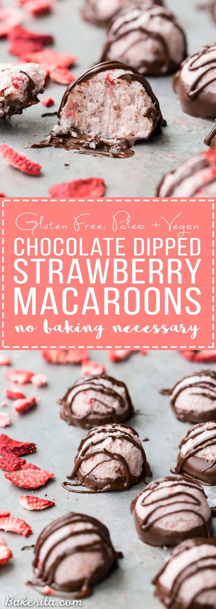 These No-Bake Chocolate Dipped Strawberry Macaroons are packed with strawberry flavor! It's hard to resist these creamy gluten-free, Paleo + vegan coconut macaroons, and the chocolate dip and drizzle makes them even more delicious.