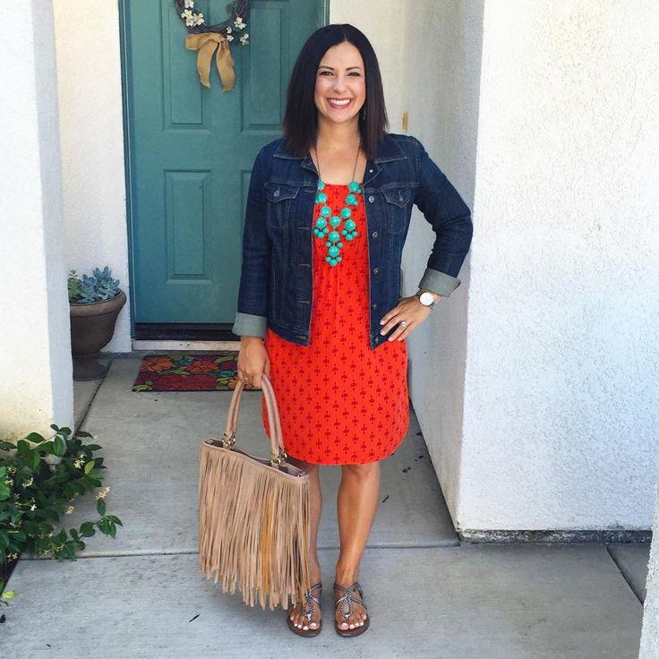 Orange dress, denim jean jacket, spring summer style, teacher outfit, fringe purse via @kari.montgomery