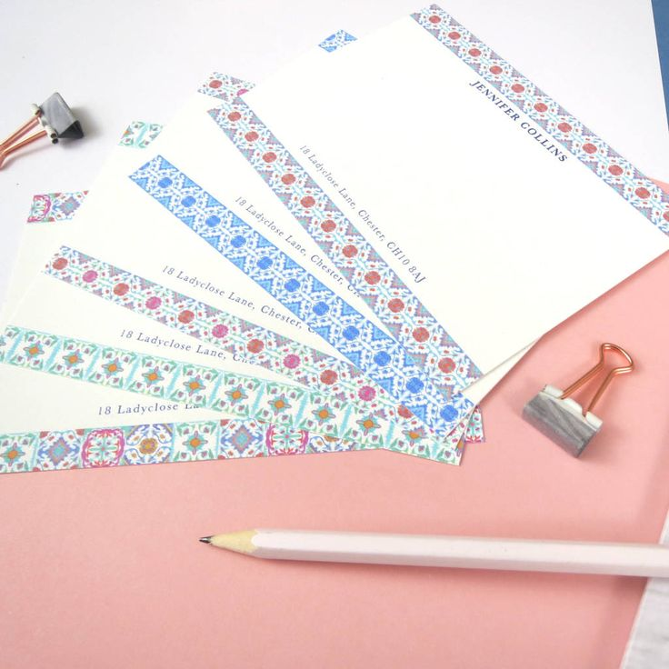 Personalised Moroccan Tiles Correspondence Cards