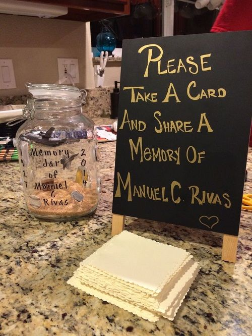 This would be a great idea for a memorial service.  It would get guests talking about their favourite memories and is something the family members can take comfort in later too.