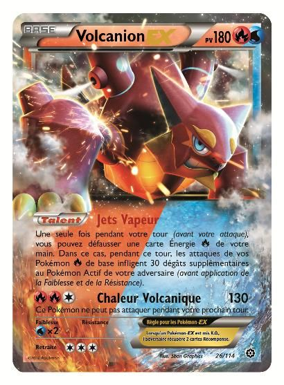 Les joueurs et les collectionneurs de cartes Pokémon vont être ravis d'apprendre que Volcanion et Magearna vont faire leur apparition dans l'Offensive Vapeur, la nouvelle extension du jeu de cartes à collectionner. Ils feront partie des 115 nouvelles cartes disponibles en magasin à partir du 20 août et qui seront réparties entre plusieurs boosters et deux decks à thème de cette extension.
