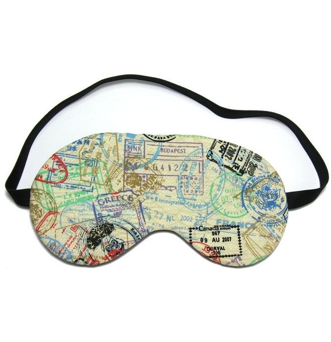 Passport stamps eye mask