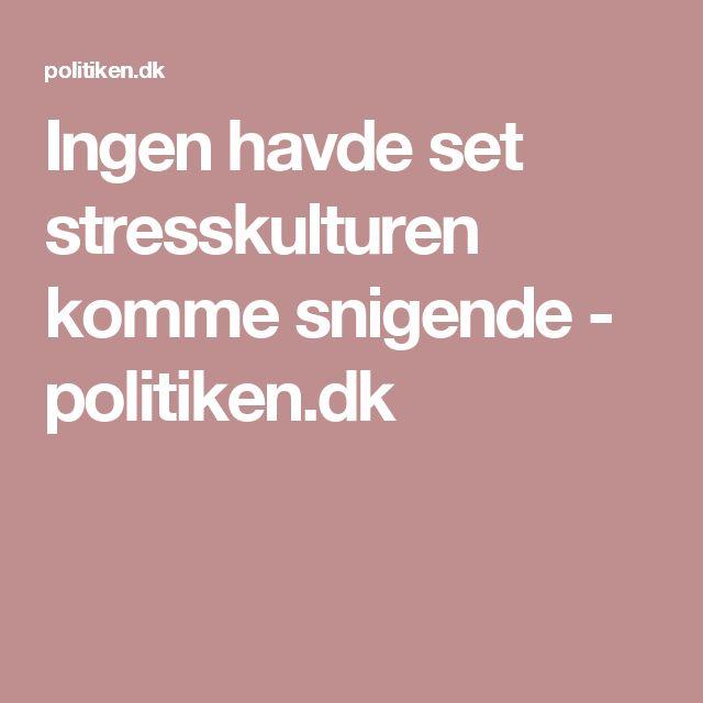 Ingen havde set stresskulturen komme snigende - politiken.dk