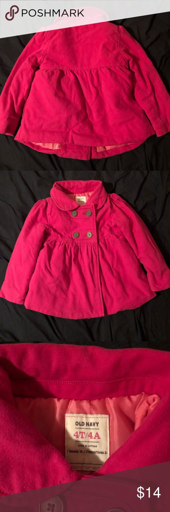 Little girls peacoat Old navy hot pink peacoat Size 4t In great condition no tears or stains Jackets & Coats Pea Coats