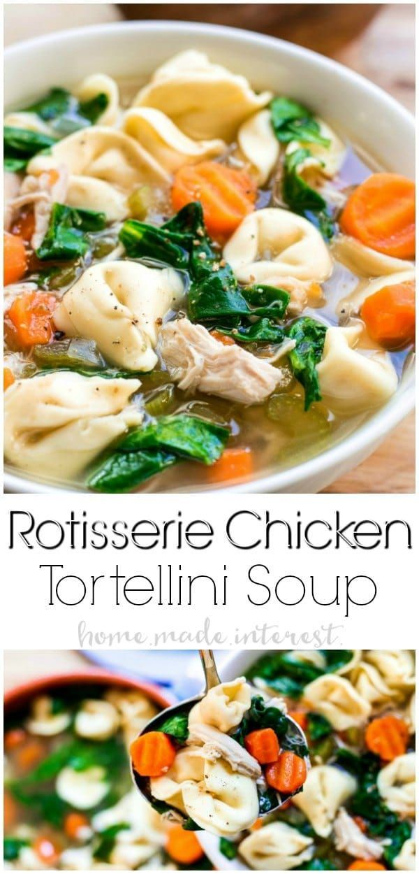Rotisserie Chicken Tortellini Soup is an easy chicken noodle soup recipe with shredded chicken, spinach, and cheesy tortellini pasta! This homemade chicken noodle soup recipe is a comfort food at it's best. AD via @hmiblog
