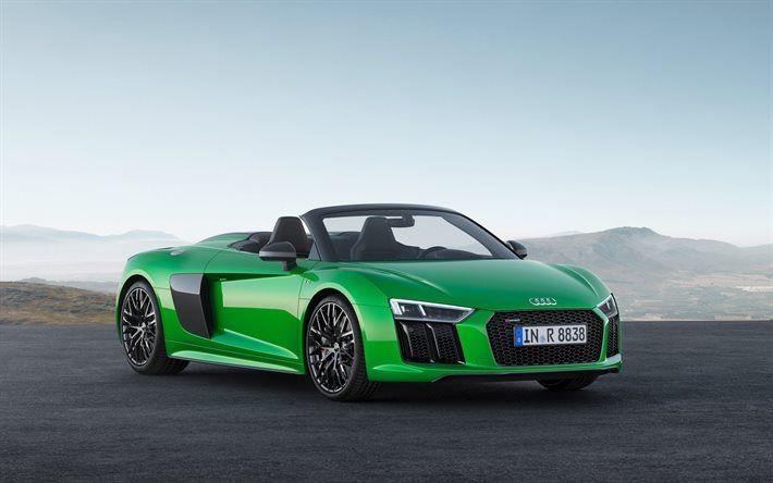 Indir duvar kağıdı Audi R8 Spyder V10 Plus, green R8, Yeşil cabriolet, Alman arabalar, spor arabalar, Audi