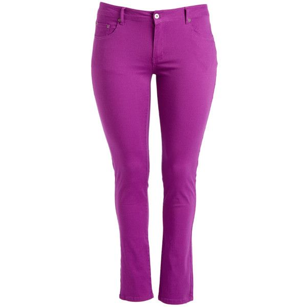 Kiss Therapy Lavender Skinny Pants ($15) ❤ liked on Polyvore featuring pants, plus size, cotton skinny pants, skinny trousers, purple skinny pants, skinny pants and plus size pants