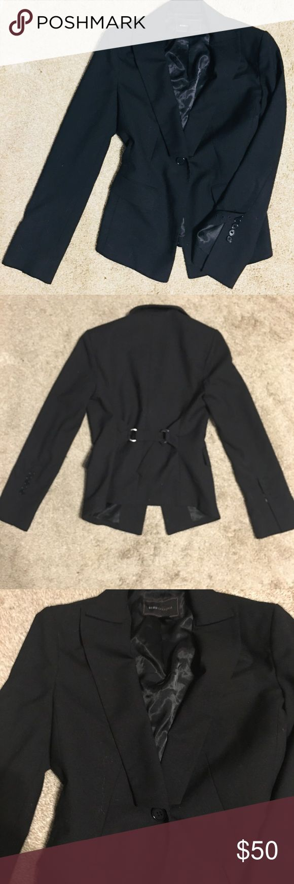 BCBG MAX AZRIA SINGLE BUTTON BLACK BLAZER XS ▪️Brand: BCBG MAX AZRIA ▪️Style: Black Single Button Adjustable Waist Blazer. Semi Flare Sleeves. Very chic!   Worn maybe 5x Like new excellent condition! ▪️Size: XS ▪️Material: Shell: Polyester Rayon Spandex / Lining: Polyester Viscose   ▫️Shop with confidence! I am a Top-Rated 5 Star Seller and Poshmark Ambassador.  ▫️Feel free to comment below with any questions and concerns before buying 💕 ▫️THANKS • Happy Poshing!▫️ BCBGMaxAzria Jackets…