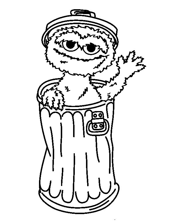 Oscar The Grouch Greet Coloring Pages For Kids Printable Sesame Street