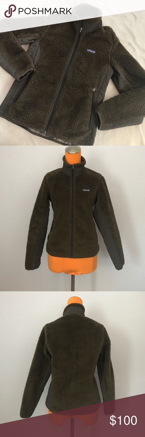 "Patagonia Chocolate Brown Los Gatos Fuzzy Jacket 24"" length 17.5"" armpit to armpit. Zips up the front. Los Gatos style. Jacket with front zipper pockets. Gray brown lining on side and under arms. Mesh like lining inside and inside pockets. Model is wearing same style just different color. Excellent condition. Bundle 2+ items for a discount Patagonia Jackets & Coats"