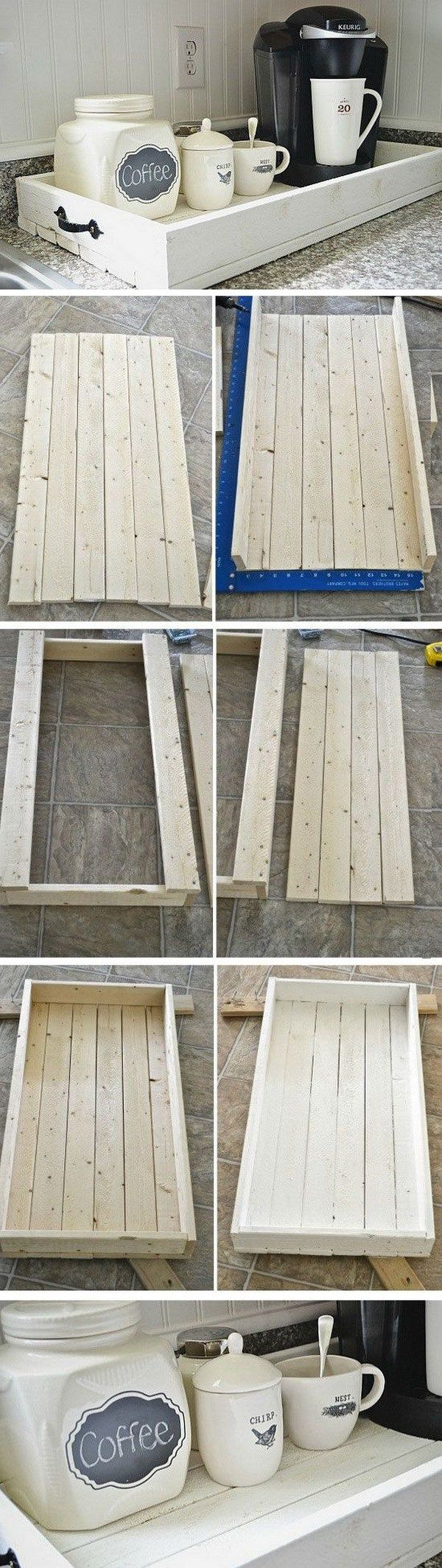 DIY Rustic Wood Tray. Love this tray for our coffee station in my kitchen! You can make it with some pallet wood boards and a bit of woodworking skills.