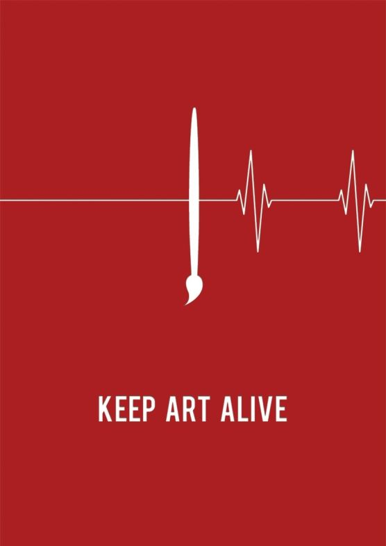 Keep Art Alive  Whenever I hear that a school has to cut a program, it always seems to be an art class. I wanted to create this poster to help motivate people to create from the heart. We all have the ability to influence this world with what we do as artists, so lets Keep Art Alive.