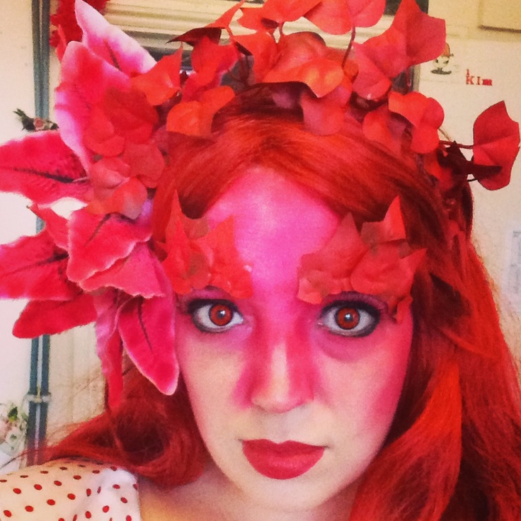 Red Weed headdress and makeup for White Mischief's War of the Worlds Ball