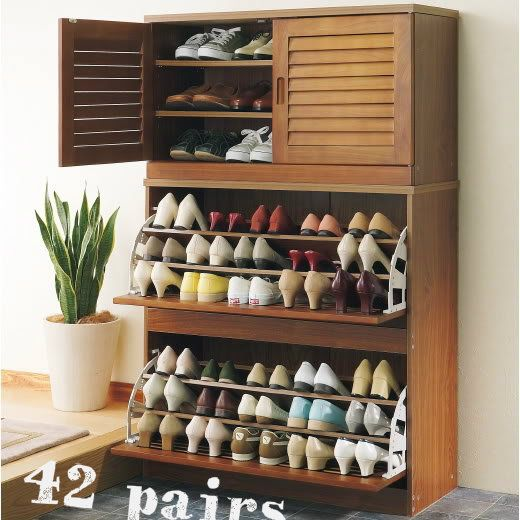 NEW SNC Family Size 42 Pairs Shoes Cabinet Rack Storage IN Walnut | EBay  $239 42