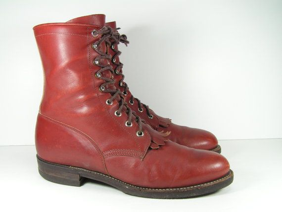 justin ankle cowboy boots mens 10 D western by vintagecowboyboots