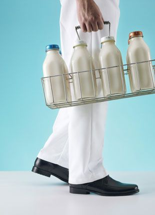 Yes, milk was home delivered in glass bottles...