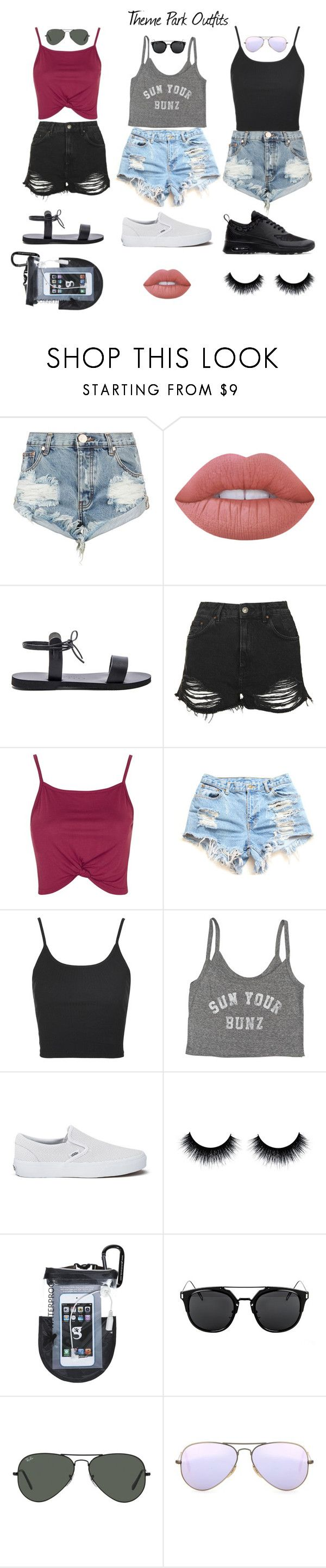 """""""Theme Park Outfits"""" by lulito on Polyvore featuring One Teaspoon, Lime Crime, Isapera, Topshop, Billabong, Vans, Ray-Ban and NIKE"""