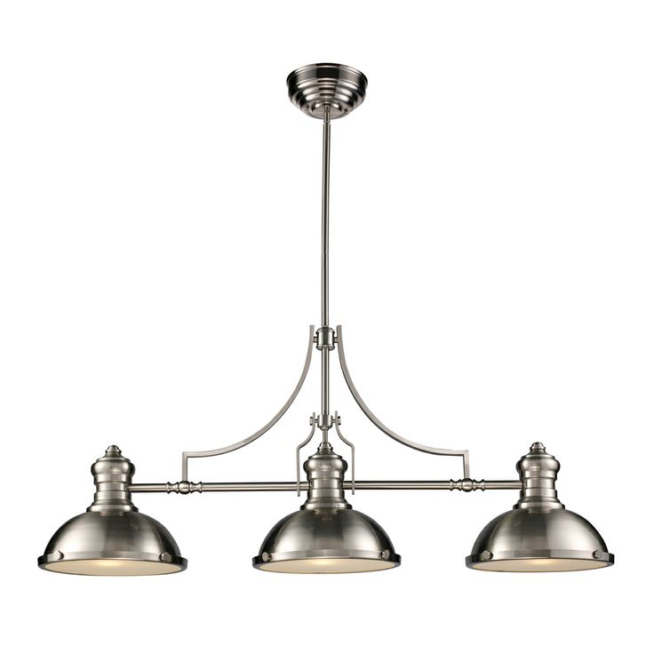 Chadwick 3 Light LED Billiard/Island shown in Satin Nickel by Elk Lighting - 66125-3-LED