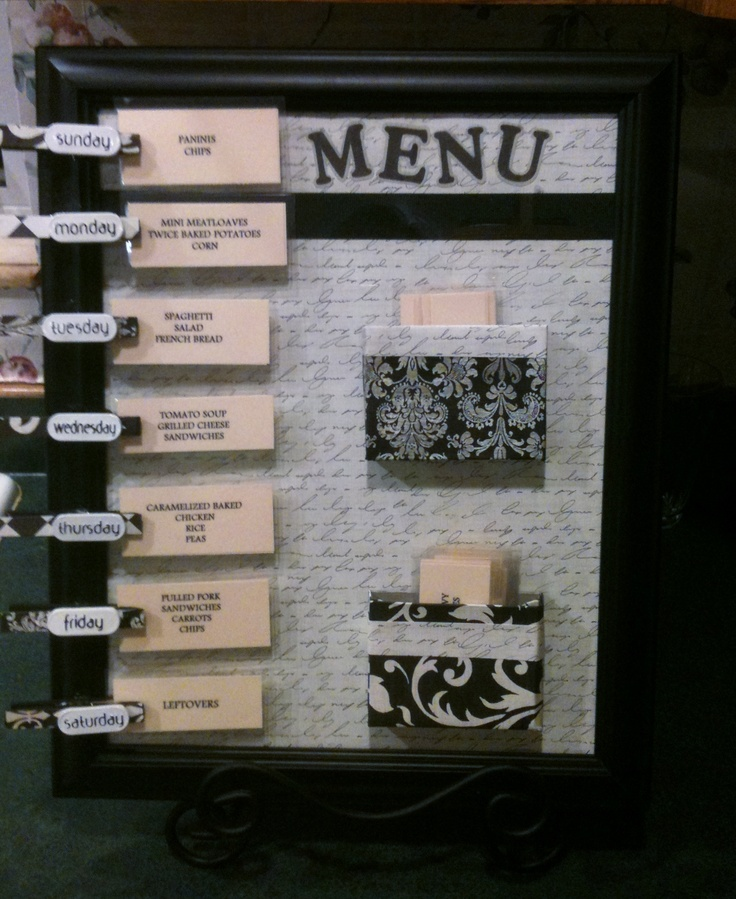 Found the inspiration for this on Pinterest from http://clairsfairytale.blogspot.com/2012/01/ultimate-menu-board.html. I love how mine turned out! I will caution - she says to use hot glue; it didn't hold for me so I used E6000 glue.