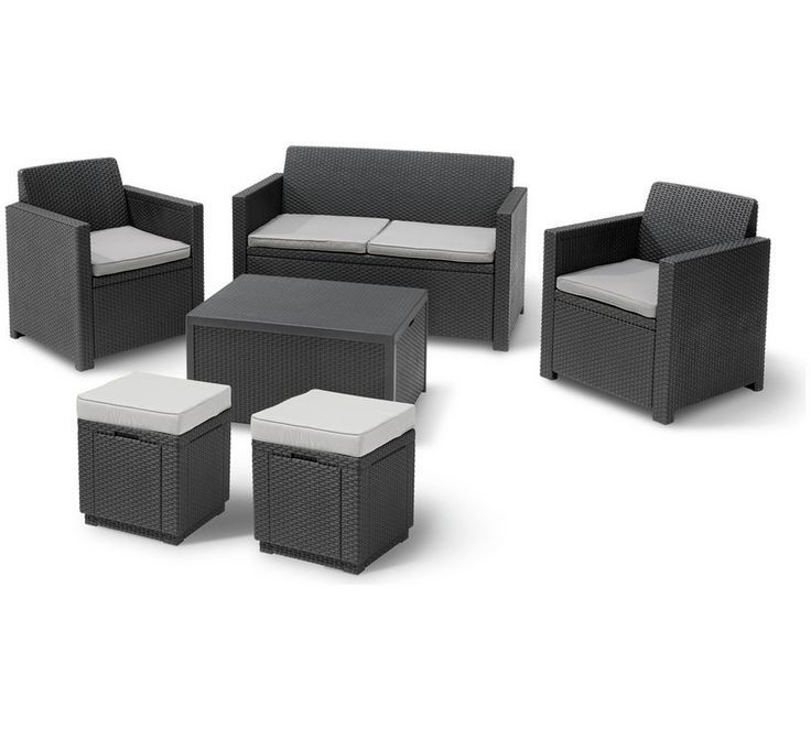 Keter Merano 6 Seater Rattan Effect Sofa Set Graphite Garden Effect Garden Graphite Keter Garden Table And Chairs Sofa Set Outdoor Furniture Sets