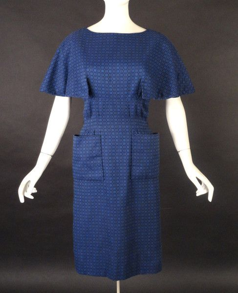 1950s PAULINE TRIGERE http://vintage-martini.myshopify.com/collections/couture-clothing-pre-1950s/products/pauline-trigere-1950s-blue-wool-brocade-dress-new-item: