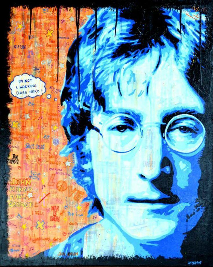 I'M NOT A WORKING CLASS HERO ! Technique mixte sur toile en lin de 81cm x 100cm. Portrait de John Lennon