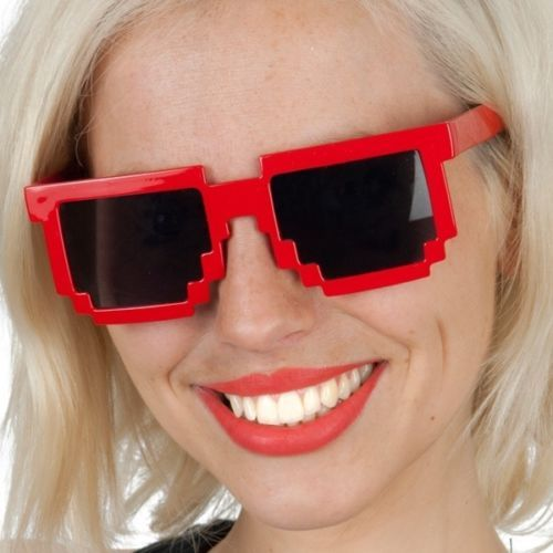 Tomfoolery-Red-Pixellated-Novelty-Sunglasses-Gamer-80s-Party-Costume-Accessory