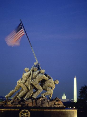 United States Marine Corps ~ The Iwo Jima Memorial is located near Arlington cemetery, across the Potomac river from Washington, D.C in Virginia.