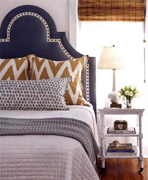navy sculpted headboard, mustard chevron pillows, long John Robshaw pillow, bamboo shade, white quilt, grey throw blanket. This is going in the bedroom.