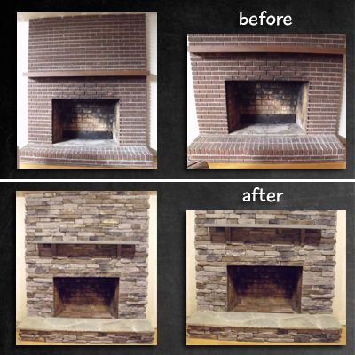 Fireplace remodel stone veneer over brick home for How to install stone veneer over exterior brick