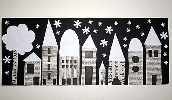 Black and white cut paper city scape | winter art lesson | paper cut | collage