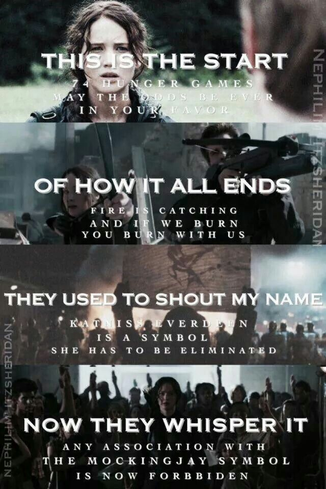 The Hunger Games ... She is the Mockingjay ... Fire is catching and if we burn you burn with us ...