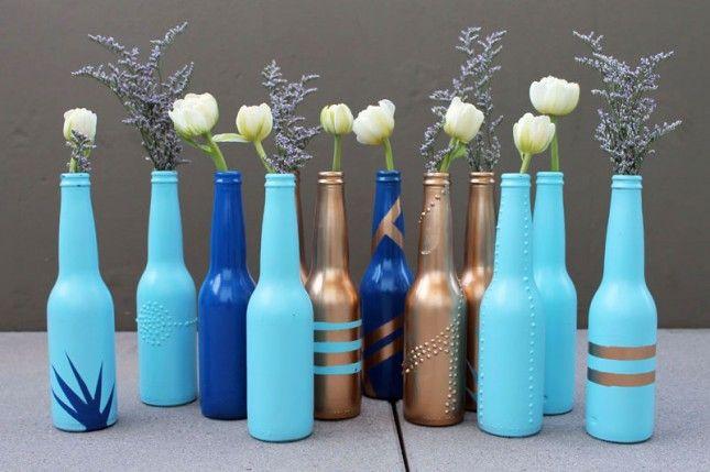painted beer bottle bud vases