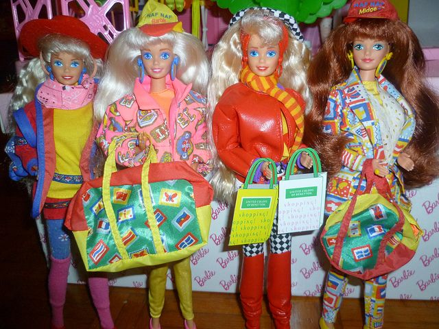 Barbie in Europe loves brands: 1990 Benetton, 1993 Naf Naf, 1991 Benetton, 1993 Naf Naf (Midge) | Flickr : partage de photos !