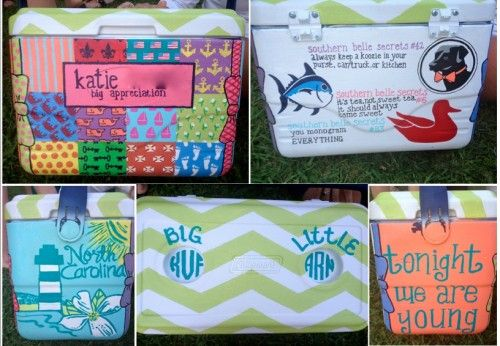 : Colleges, This Is Awesome, Coolers Crafts, Sorority Crafts, Coolers Idea, Frat Coolers Paintings Idea, Cups Holders, Paintings Coolers, Big Little